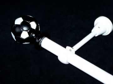 1.2m - 2.1m Designer Eyelet Extendable Curtain Pole with Black & White FOOTBALL Finials